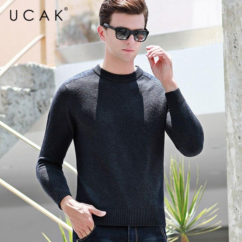 UCAK Brand Pure Merino Wool Sweater Men New Fashion Trend Tops Casual Streetwear Autumn Winter PullHomme Sweaters Pullover U3143
