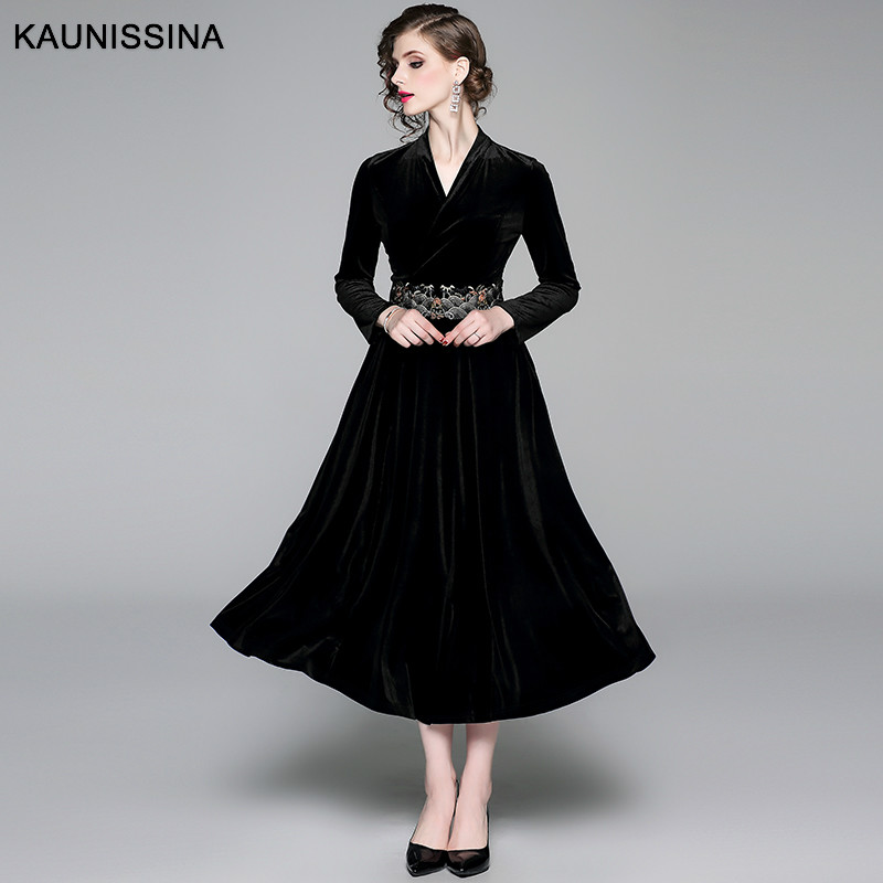 KAUNISSINA Winter Dress Velvet Cocktail Robe Elegant Party Dress Long Sleeve V-Neck Embroidery Gown Autumn Vestidos