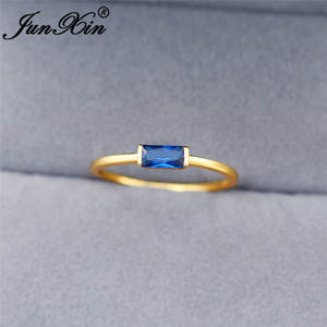 Thin-Ring Zircon Stone Small Yellow Gold Minimalist Women Simple Rectangle with White