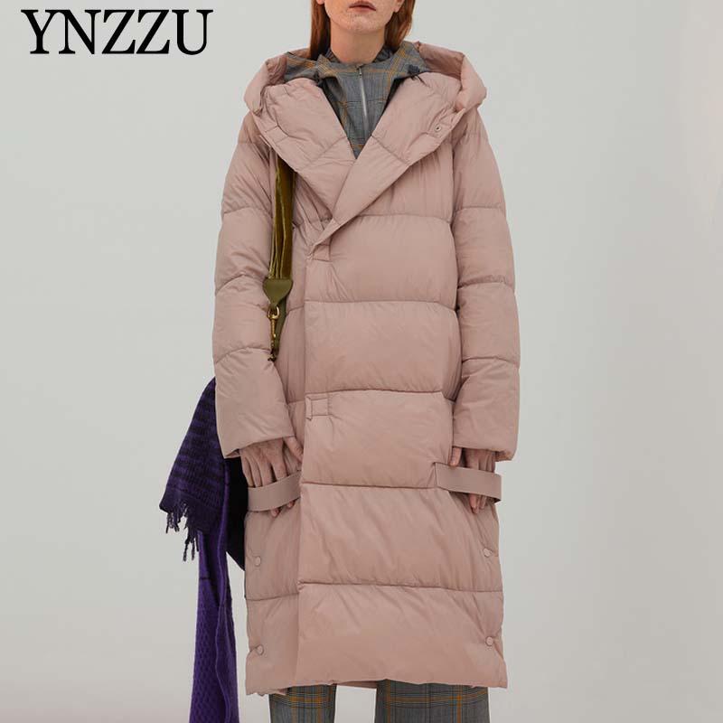 Elegant Women Long Down Jacket Loose Casual Long Sleeve Female Down Coats 2019 Winter 90% White Duck Down Coat Warm YNZZU 9O062