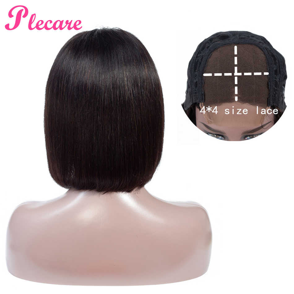 Plecare 4*4 Bob Wig  8-14 Inch Peruvian Straight Lace Closure Human Hair Wigs For Black Women Natural Color Non Remy