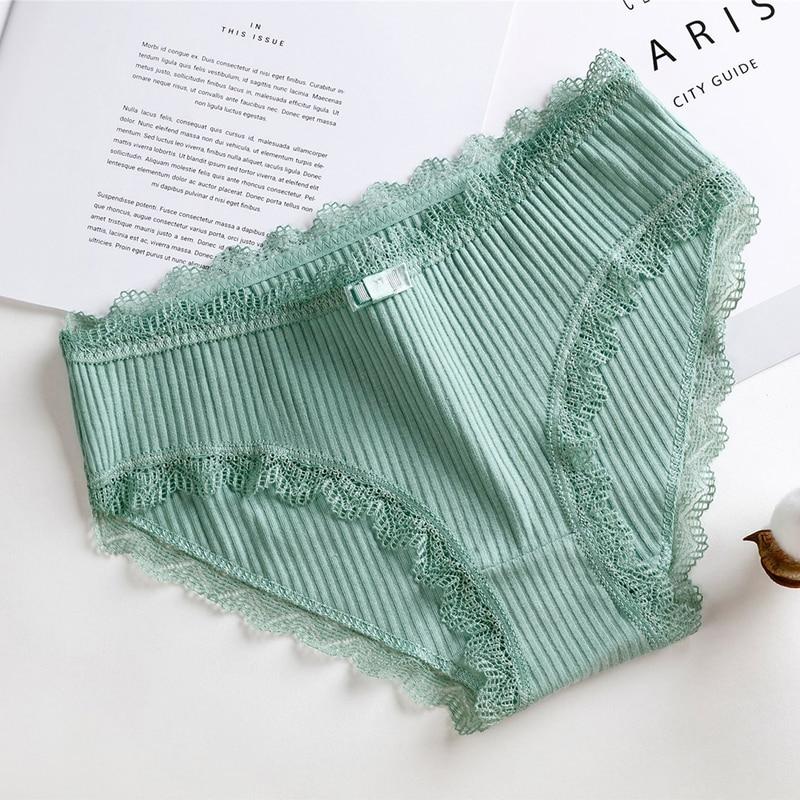LOOZYKIT Women Elastic Cotton Underwear Bikini Hipster Panties Soft Stretch Briefs Sexy Lace Underwears Push Up Lingerie Solid