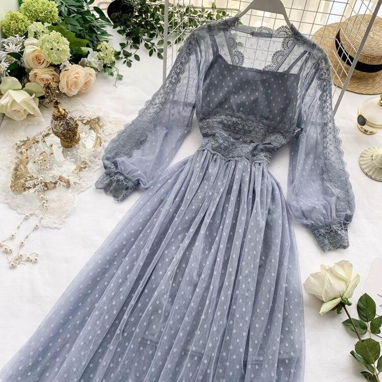 Lace Floral V-Neck Long Sleeve Polka Dot Dress 13