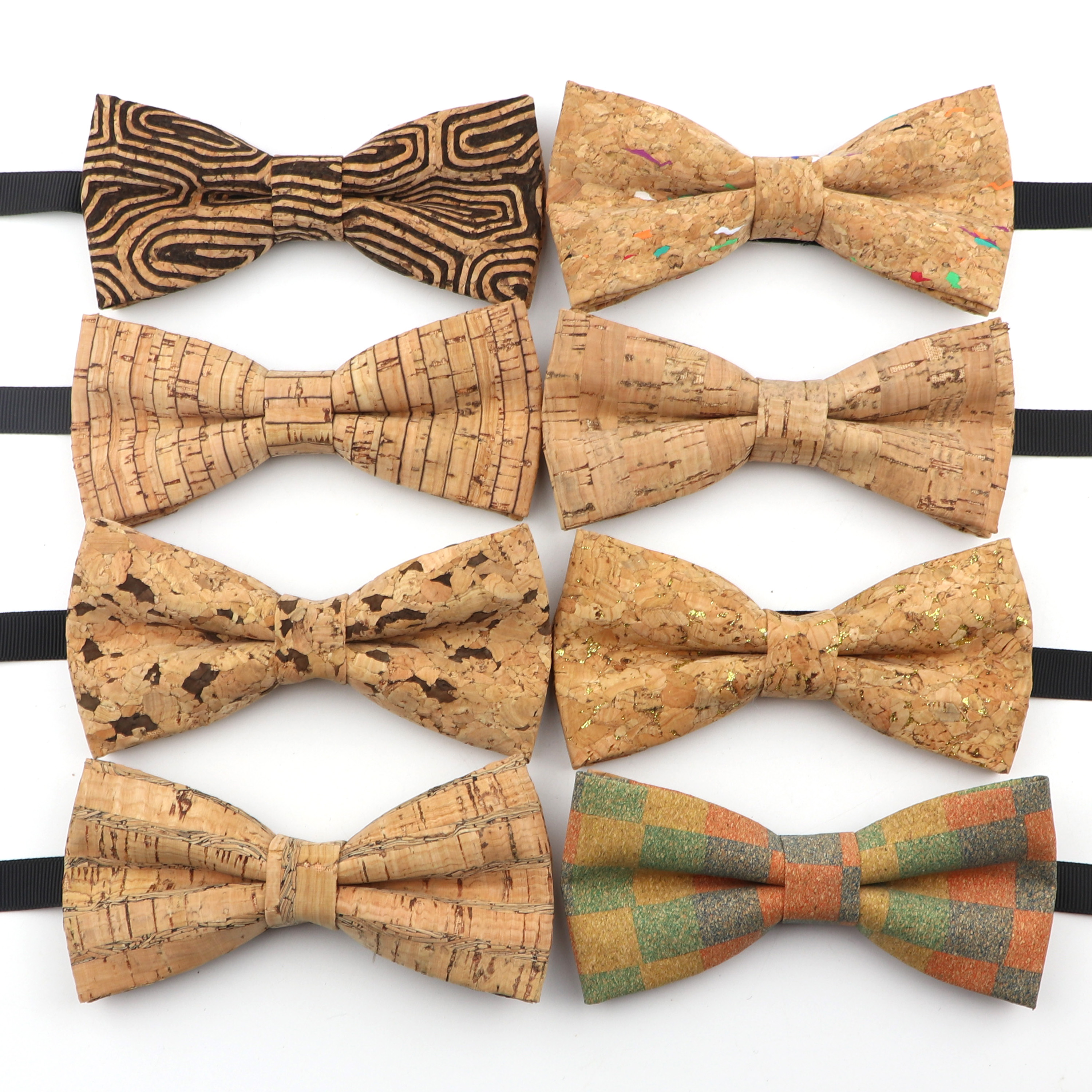 New Men's Cork Wooden Fashion Bow Ties Man Novelty Handmade Solid Neckwear for Men Wedding Party Wood Gift Male Bowtie