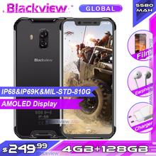 Blackview BV9600E 4GB 128GB IP68 wodoodporny telefon komórkowy 6 21 #8221 wyświetlacz AMOLED Helio P70 Octa Core Android 9 0 NFC Smartphone tanie tanio Nie odpinany Inne CN (pochodzenie) Rozpoznawania linii papilarnych Rozpoznawania twarzy 16MP 5580 Adaptacyjne szybkie ładowanie
