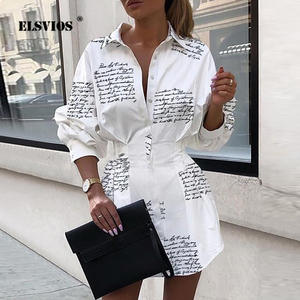 ELSVIOS Shirt Dress Button Letter Turn-Down-Collar Long-Sleeve Print Sexy Elegant Ladies