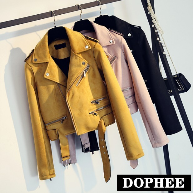 Women's   Suede   Jacket Korean New Joker Female Student Spring and Autumn Slim Motorcycle Faux   Leather   Coat Short Zipper Jackets