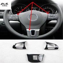 3 шт./лот, наклейки для автомобиля, ABS, углеродное волокно, зерно, руль, декоративная крышка для 2009-2013 Volkswagen VW golf 6 MK6