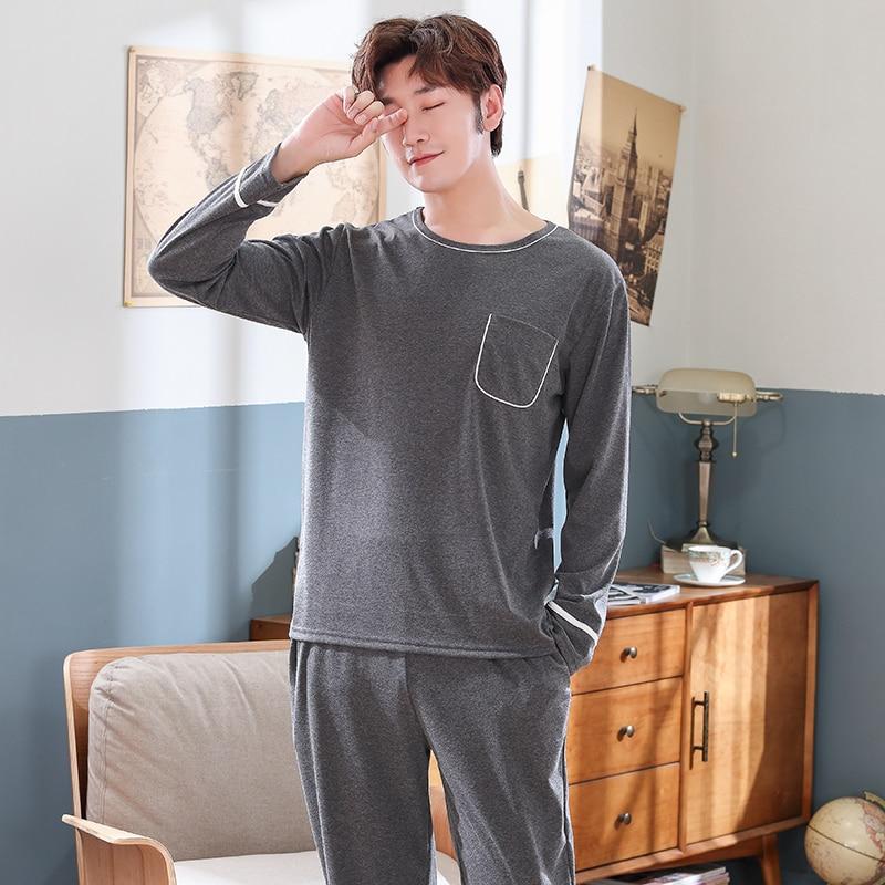 Deep Gray L-4XL Tracksuit Men Loose Pajama Set Casual Loose Cotton Nightwear Loose Home Clothing Night Shirts+Bottom Pant