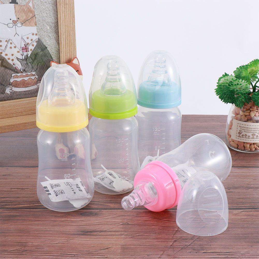 120ml Newborn Baby Infant Nursing Milk Fruit Juice Water Feeding Standard Mouth Silicone Nipple Pacifier Drink Bottle