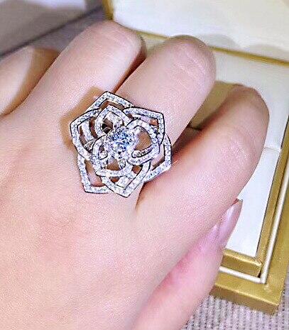 Marque de mode de luxe bijoux S925 en argent sterling creux rose zircon anneau pour les femmes
