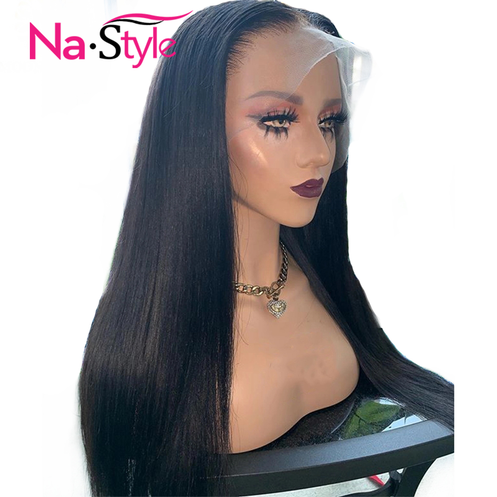 Fake Scalp Wig 360 Lace Frontal Wig Straight Lace Front Wig For Black Women Transparent Lace Wigs Preplucked Bleached Knots