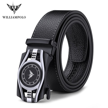 WilliamPolo full-grain leather Brand Belt Men Top Quality Genuine Luxury Leather Belts for Men Strap Male Metal Automatic Buckle cowskin leather smooth buckle belts for men high quality double v buckle male strap famous brand genuine leather men belt