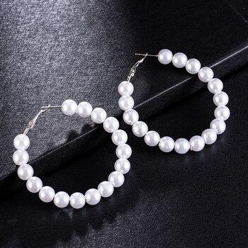 2019 New Fashion Big pearl Stud Earrings For Women Bohemian Statement Simulated pearl Earrings Hot Charm Jewelry 2