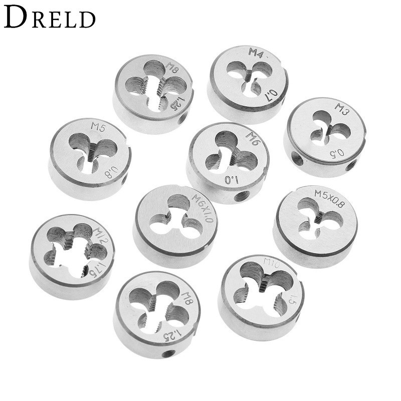 DRELD 1pc M5 M6 M8 M10 M12 Metric Threading Die Alloy Steel Lathe Engineer Mold Machining Right Thread Hand Tool For Workpiece