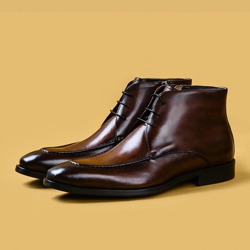 2020 Autumn Men's Chelsea Boots Genuine Cow Leather Mens Dress Boot Shoes Wedding Dress Short Classic Martins Botas For Man