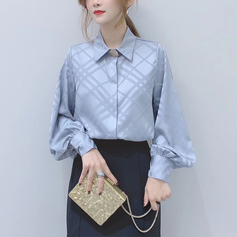 Korean OL Women Long Sleeve Blouses 2020 New Chic Turn-down Collar Female Shirts Vintage Button Plaid Blusas Mujer 1