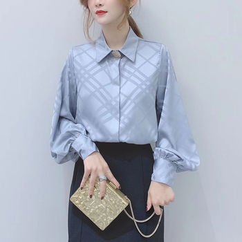 Korean OL Women Long Sleeve Blouses 2020 New Chic Turn-down Collar Female Shirts Vintage Button Plaid Blusas Mujer 1