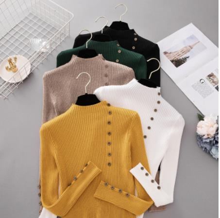 Autumn Fashion Button Turtleneck Sweater Shirt Women's Solid Color Knit Pullover Ldies Slim Soft Sweater Sweater Women Knit Top