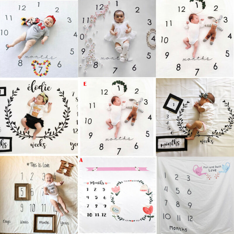 Photography Newborn Baby Blanket Monthly Flowers Numbers Photo Prop Accessories