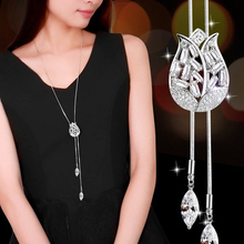 Fashion Korean Tulip Necklace Long Pendant Adjustable Crystal Jewelry Sweater Party Decoration