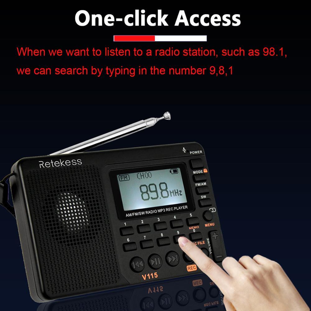 Retekess V-115 FM//AM//SW Radio Receiver REC Recorder Bass Sound MP3 Player