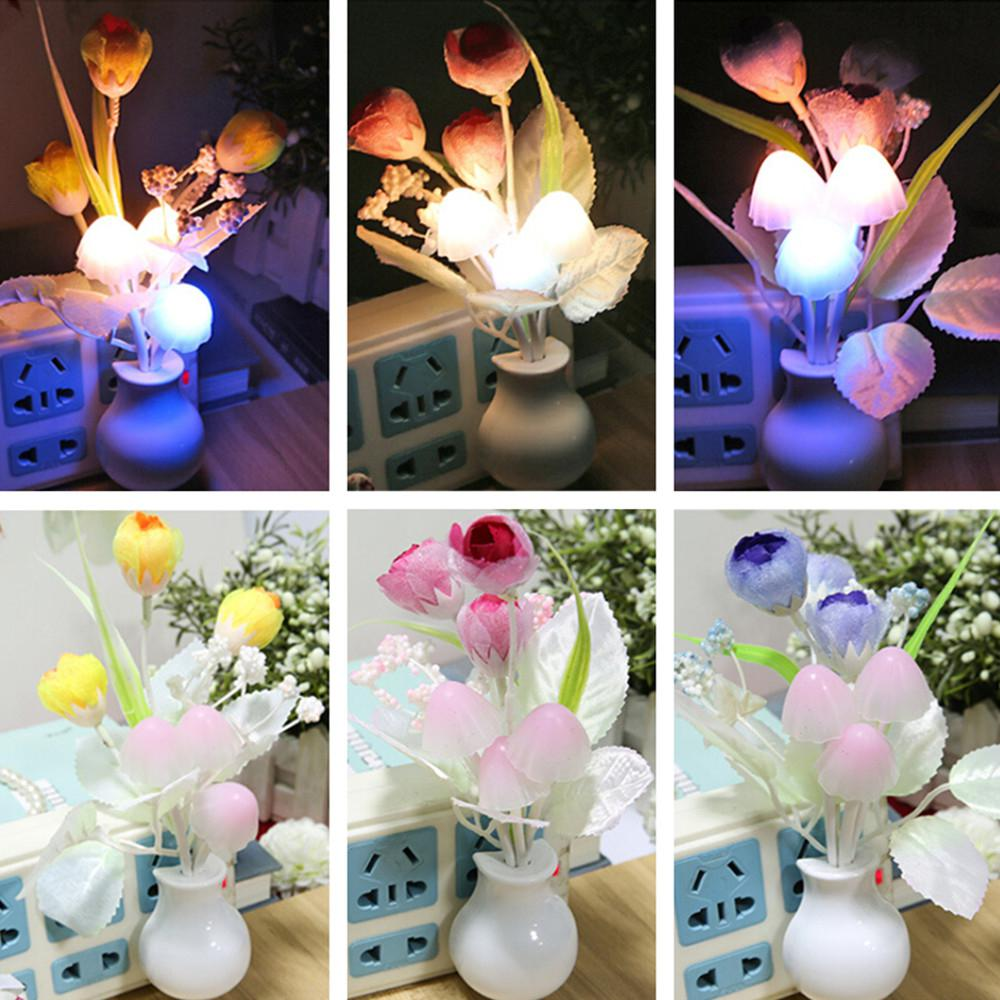 LED 7Colors Change Tulip Shape Optically Controlled Baby Children Novelty Night Light Mushroom Wall Lamp Projector Nightlight