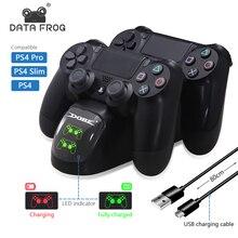 Dữ Liệu Ếch PS4 Bộ Điều Khiển Joystick Tay Cầm Dual USB Đế Sạc Nhanh Đế Sạc Cho Máy Chơi Game Playstation 4 PS4 Pro Slim chân Đế