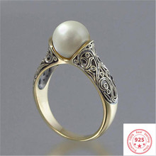 925 Sliver Sterling Pearl Ring for Women Luxury Topaz Bizuteria Silver 925 Jewelry Pearl Gemstone Ring with Box(China)