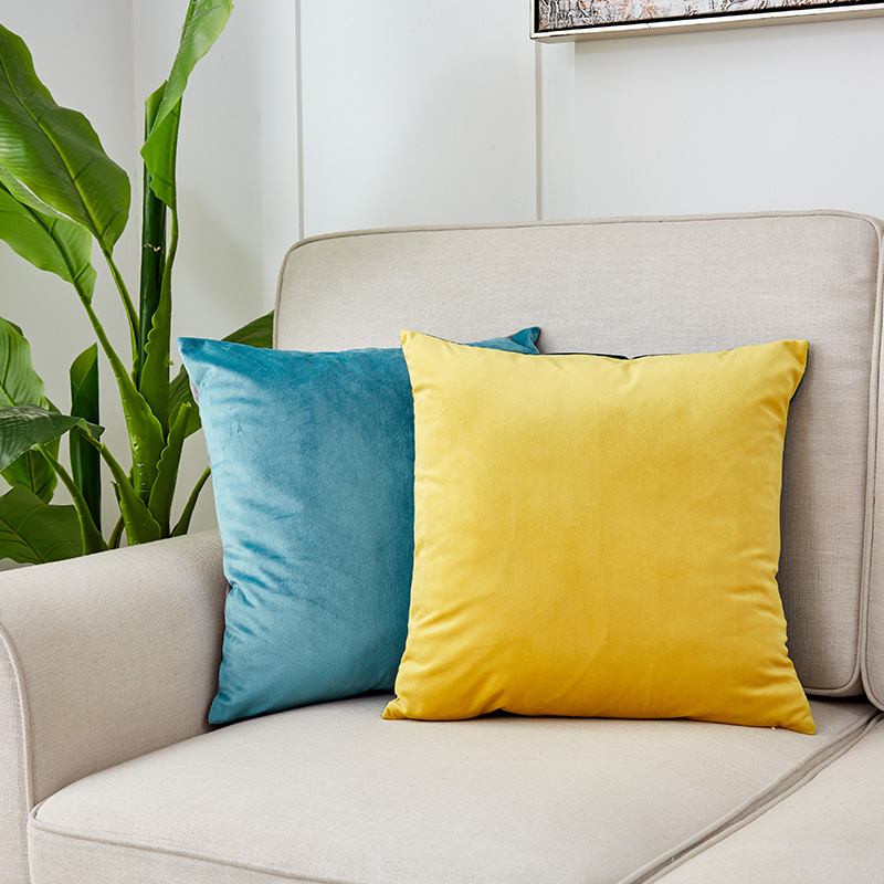 CANIRICA Cushion With Core Velvet Back Cushion Home Sofa Pillow 45x45cm For Bedroom Decoration Rectangular Chair Seat Cushions