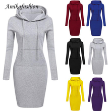 2019 Autumn Winter Warm Sweatshirt Long-sleeved Dress Woman Clothing Hooded Collar Pocket Simple Casual Ladies Dress Vesdies YXB цена