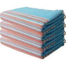 Wellstil 100 Cotton 4 PCs Peştamal Beach Towel Set Helen Turquoise