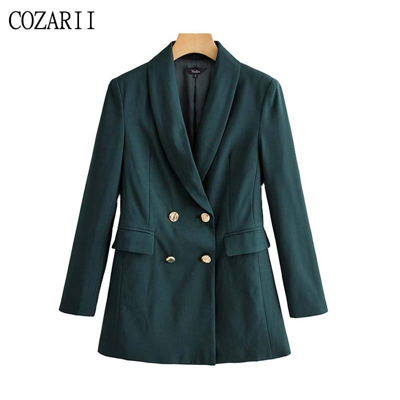 Women basic solid blazer double breasted long sleeve pockets coat female office wear formal stylish tops