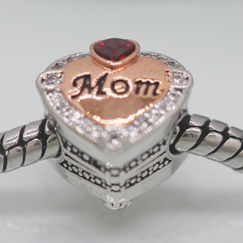 2020 year New Slide charm DIY bead Rose Gold Mom Heart Love Charm Bead fit Pandora bracelet Women's jewelry gift(China)