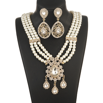 Moroccan Fashion Gold Jewelry Pearls Necklace Set for Bridal  Necklace and Earring Set  Fashion Jewelry Womens Accessories 2