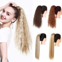 Peluca de cabello sintético rizado con cola de caballo, extensiones de cabello Natural largas con cola de caballo, piezas falsas de cabello