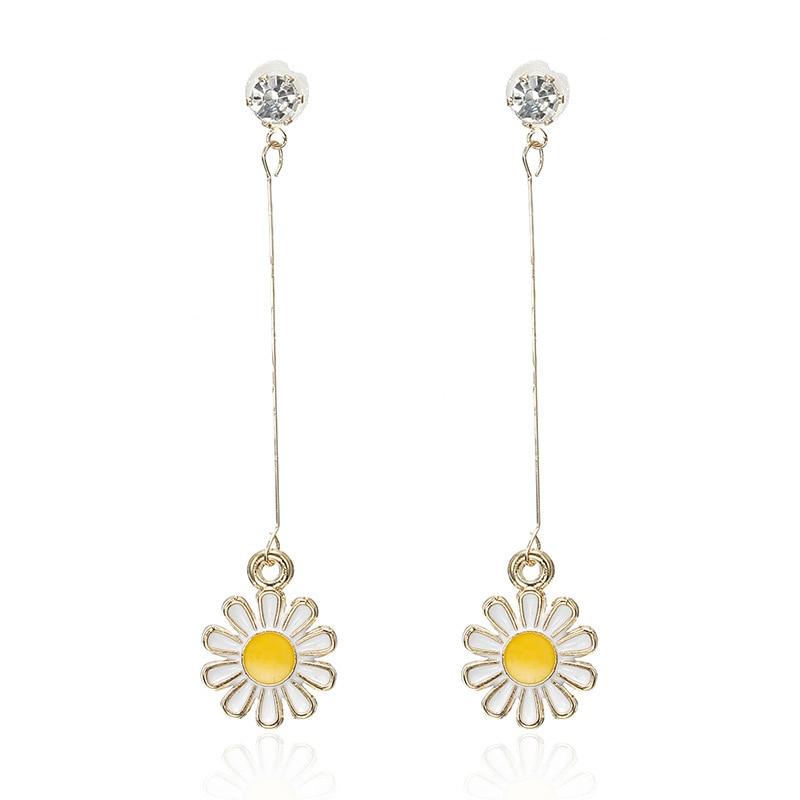 CARTER LISA 2019 Fashion Design Sunflower Long Drop Earrings For Women Chrysanthemum Pendientes For Women  Ear Jewelry HLEZ64000