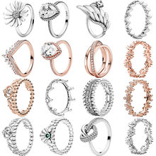 Women Jewelry 925 Sterling Silver Pave Rose Golden Rings Daisy Flower Petals Band Rings Dragonfly Open Rings