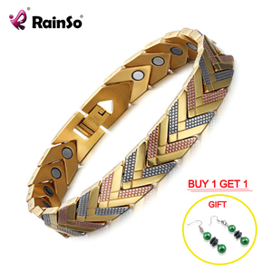 Rainso Health Magnetic Bracelet Bangle For Women Hot Sale Stainless Steel Bio Energy Bracelet Gold Fashion Jewelry(China)