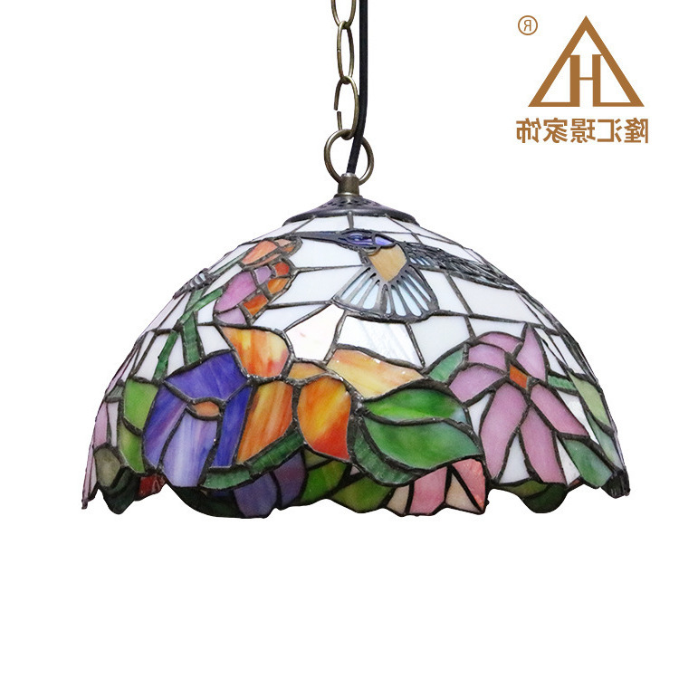 Stained Glass Pendant Lights Rose Flower Tiffany Hanglamp E27 Led Hanging Light Fixture Suspension Luminaire Pendant Lamps