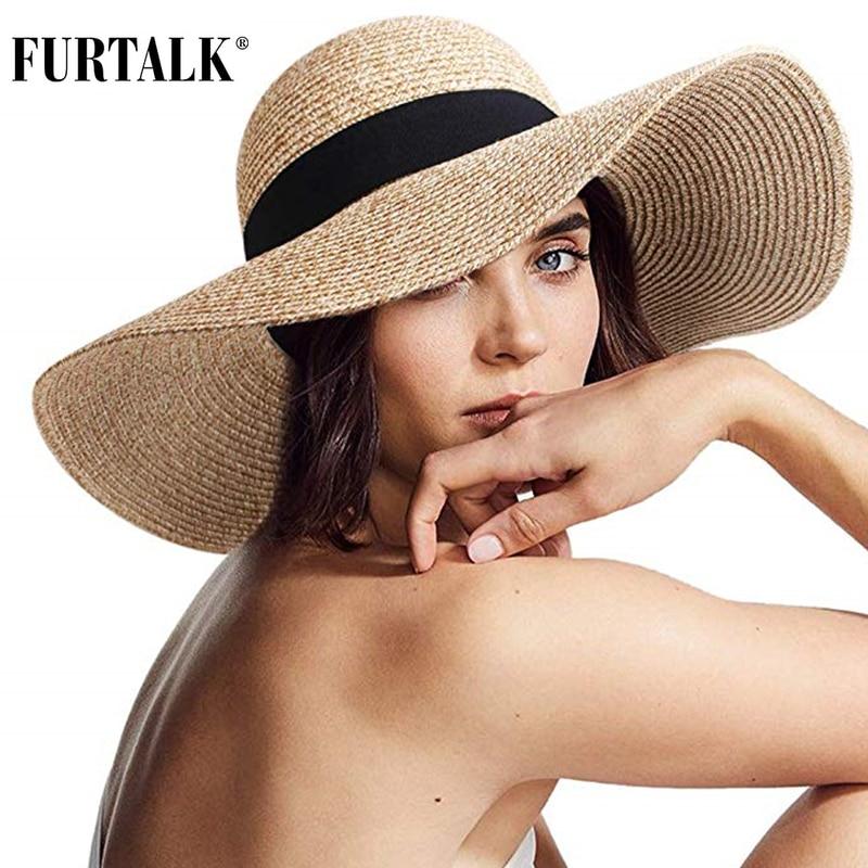 FURTALK Summer Beach Hat Women Large Straw Hat Big Brim Sun Hats UV Protection Foldable Roll Up Floppy Cap chapeu feminino 2020 1