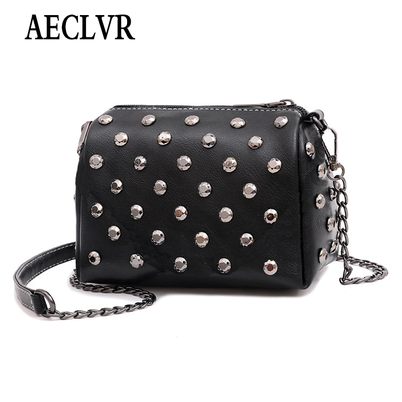 High Quality PU Women Crossbody Bag Fashion Color Rivet Chain Design Women Shoulder Bags Color Shoulder Strap Ladies Bag AECLVR