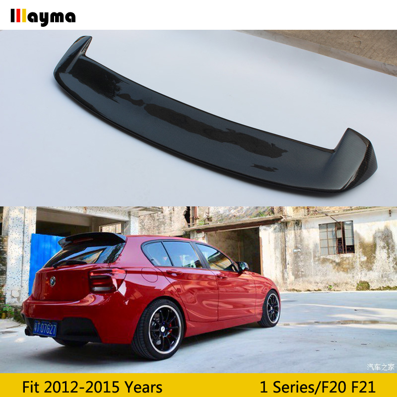3D style carbon fiber rear roof trunk <font><b>spoiler</b></font> For <font><b>BMW</b></font> 1 series hatchback 116i 120i 125i M135i M140i 2012 - 2015 F20 <font><b>F21</b></font> CF styling <font><b>spoiler</b></font> wing image