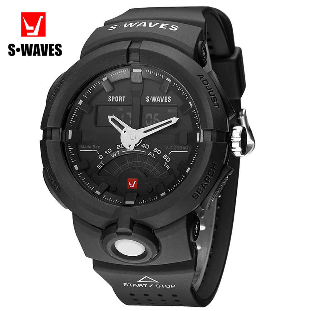 SWAVES Fashion Watches Mens 2019 Casual Water Resistant Sport Luxury Watch Men Quartz Digital Analog Plastic Army Reloj Hombre