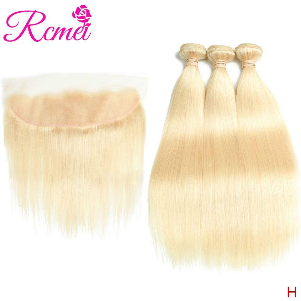 613 Bundles With Frontal Brazilian Straight Hair 613 Blonde Bundles With Frontal 3 Bundles With Lace Front Rcmei Brand Hair