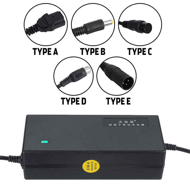 XYLUCKY Moto Cargador 48V 2A // 3A // 5A // Opcional de Litio Cargador de bater/ía de Bicicleta el/éctrica Cargador de bater/ías con el Enchufe de la CC