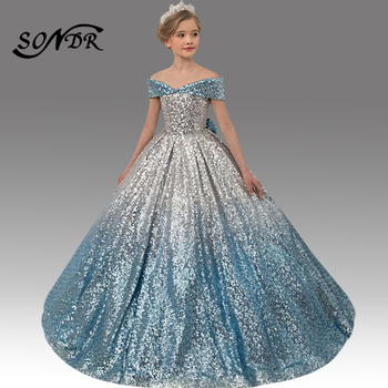 Shining Sequin Princess Ball Gowns HT085 Gradient Elegant Flower Girl Dresses Off The Shoulder Kids Party Dress For Wedding 2020 children strap princess dress girl off the shoulder chiffon print dress skirt wedding party elegant flower baby girls dress