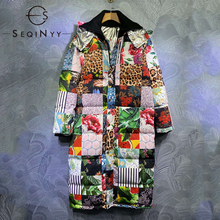 Coat Long Print Winter Women Hooded Autumn Vintage Thick Design New-Fashion Straight