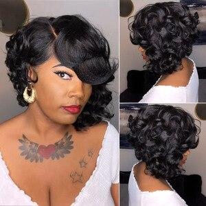 Женский короткий черный коричневый смешанный волнистый парик с боковой челкой естественный ищет черных женщин синтетический парик для еже...