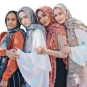 Image 1 - Women Cotton Voile Scarf Pleated Square Blocks Plain Shawl Muslim Tudung Muslim Hijab Scarves Head Scarf Wraps